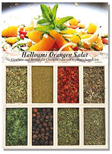 Halloumi Orangen Salat - 8 Gewürze Set für den Orangen Salat mit zypriotischem Käse (40g) - in einer schönen Holzbox - mit Rezept und Einkaufsliste - Geschenkidee für Feinschmecker von Feuer & Glas