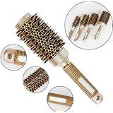 AOLCVO Brosse en poils de sanglier, brosse à cheveux professionnelle, brosse à brushing ionique avec corps céramique thermique , doré, 45#:25.5*4.5cm