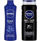 NIVEA Talc, Musk Mild Fragrance Powder, 400g And NIVEA Shower Gel, Active Clean Body Wash, Men, 500ml