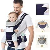 Marsupio Neonati Ergonomico, Porta Bambino con Sedile Multiposizione, con PoggiaTesta e Cappuccio, Puro Cotone…