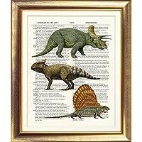 Favoloso Pagina antica Rettile Art Print di 150 anni di carta Dino Drago Opera Illustrazione poster d