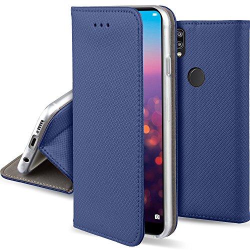 Moozy Hülle Flip Case für Huawei P20 Lite, Dunkelblau - Dünne magnetische Klapphülle Handyhülle mit Standfunktion