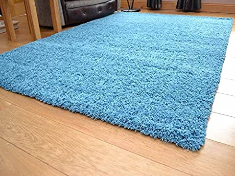 Shaggy Thick Modern Luxurious Teal Light Blue Rug High Pile