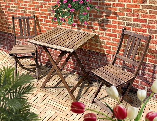 Sedex Tampa Gartenset 3.Tlg. Bistroset Balkonset Eukalyptus mit Klappfunktion