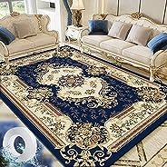 سجادة ارضية عتيقة بتصميم ازهار لمنتصف غرفة المعيشة، كبيرة ومضادة للانزلاق وقابلة للغسل، 160×230 سم، ازرق داكن،