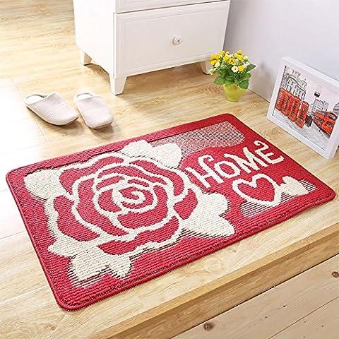 Pragoo Red Flower Doormat Home Mat Anti Slip Kitchen Room Floor carpet Indoor Outdoor Entrance Rug