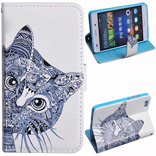 Voguecase® für Apple iPhone 6/6s(4,7 Zoll), Kunstleder Tasche PU Schutzhülle Tasche Leder Brieftasche Hülle Case Cover (Grün Teppich) + Gratis Universal Eingabestift Blau/Katze Kopf