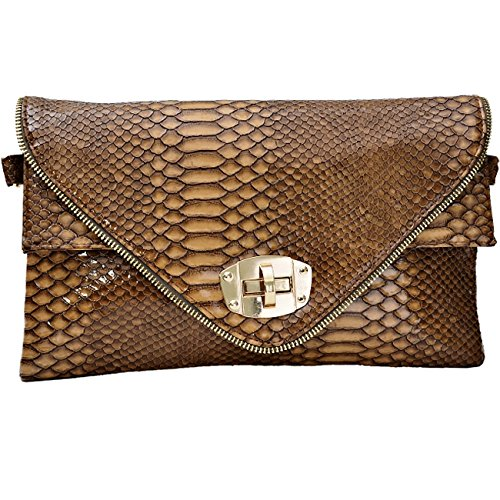Womens Smart Animal Croc Imprimer Faux Leather Envelope Sac à main d'embrayage