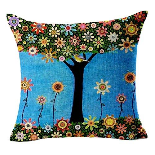 Sunnywill Baum Kissen Abdeckungen Bett Auto gedruckt Baumwolle Leinen Sofa Vintage Kissenbezug (Blau)