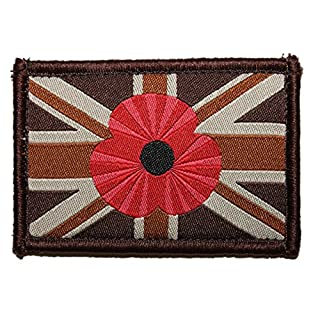 Alpha Tactical Union Jack Velcro Woven Embroidered Poppy Patch Desert Large