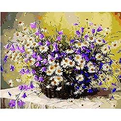 Cuadro Margarita Flores Diy Pintura Por Números Decoración Del Hogar Pintado A Mano Aceite Painitng Inicio Arte De La Pared Cuadro Sin Marco