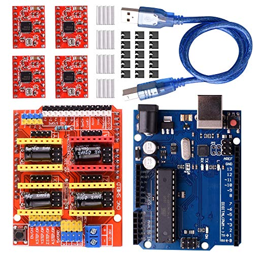 Longruner CNC Shield Expansion Board V3.0 +UNOR3 Board + A4988 Stepper Motor Driver With Heatsink with ArduinoIDE Kits LK75