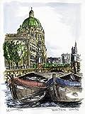 Original Feder und Aquarell auf Aquarellkarton: BERLIN Berliner Stadtschloss II / 24x32 cm