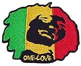 One Love Aufnäher Aufbügler Patch Jamaika Reggae Ragga Rasta Äthiopien Afrika Dub Festival Party (Klein)