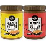 The Butternut Co. 1 Kg Creamy Unsweetened Peanut Butter & 1 Kg Creamy Unsweetened Almond Butter - 2 Kg Combo Value Pack