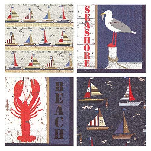 Boston International 20Zählen 3-lagig Papier Cocktail Servietten, Set 4Nautisches Thema-Segelboot, Hummer, Krabbe, Sea Life