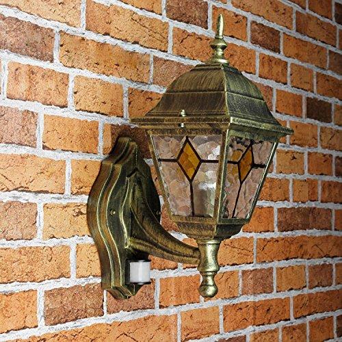 Rustikale Wandleuchte in antikgold inkl. 1x 12W E27 LED 230V Wandlampe aus Aluminium & Glas für Garten/Terrasse Garten Weg Terrasse Lampe Leuchten außen