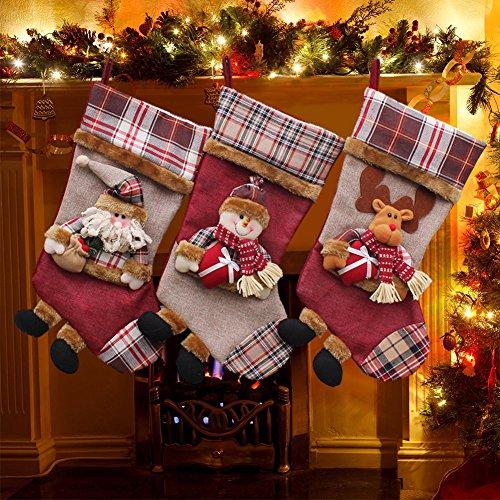 Yamuda, 3 calze di natale classiche, di grandi dimensioni, regalo di natale ideale, tessuto, set a, grande