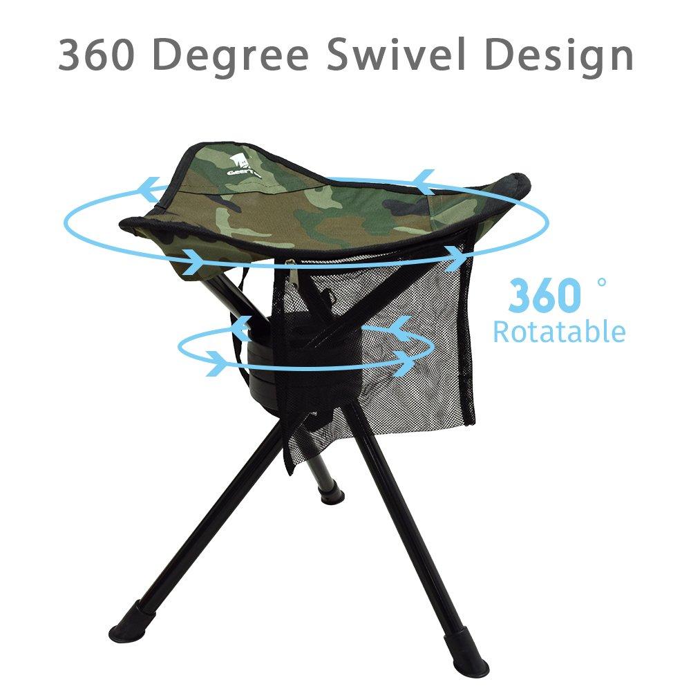 Geertop Folding Tripod Swivel Chair Full 360 Degree