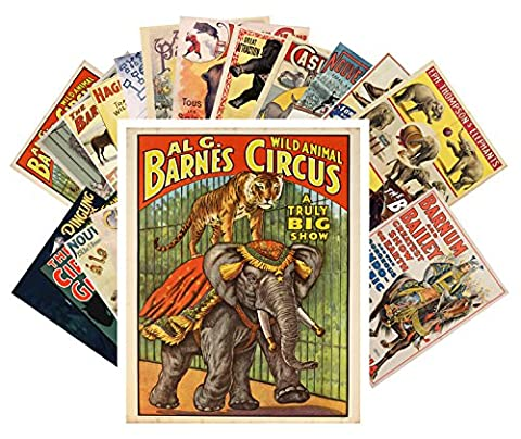 Postcard Pack 24pcs Vintage Circus Animals and Horses Vintage Posters