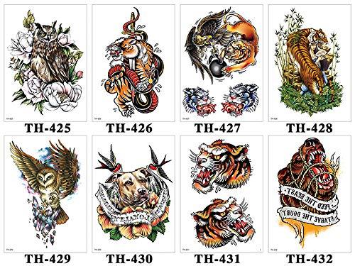 KAMRL Temporäre Tattoo-Aufkleber Tiger Schädel Leopard Drache Wasserdicht Temporäre Tätowierung Aufkleber Wolf Tiere Tattoos Körperkunst Arm Hand Männer Gefälschte Tätowierung 15X21 cm