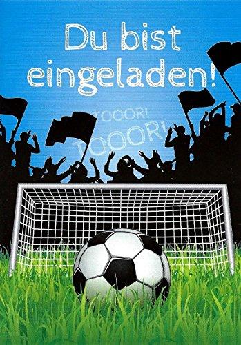 zum Kindergeburtstag Set mit Umschlägen und Innentext Kinder Fussball Motiv Fußball blau Tor (Cars Geburtstag-einladungen)