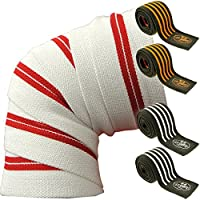 Professional Knee Bandages 200 cm T25 Perfect for Bodybuilding / Powerlifting White/Red by C.P. Sports