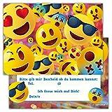 Einladungskarten für Kindergeburtstage für Jungen oder Mädchen (fröhliche Emojis, 12 Stück im Kartenset)