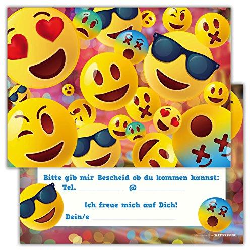 12 Lustige Kinder Einladungskarten im Set für Kindergeburtstag / Emoji / Einladung Zum Geburtstag für Jungen und Mädchen / 12er Kartenset