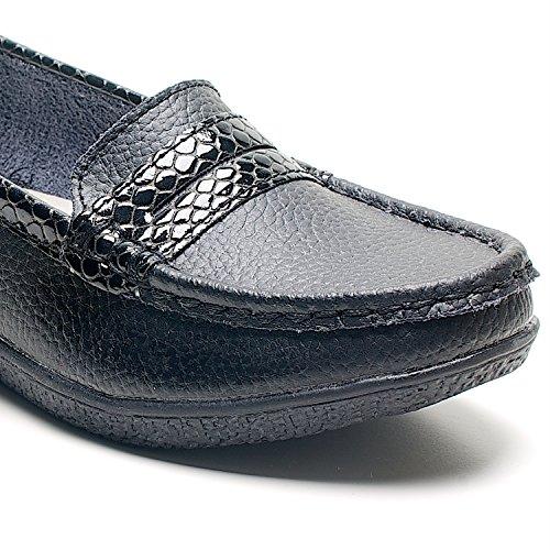 Damen Keilabsatz Print Halbschuhe Slipper Mokassin Loafer Damen Freizeit Schuhe Schwarz