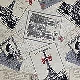 Craftine Tissu Jacquard Cartes postales vintage Paris Beige - Par 50 cm