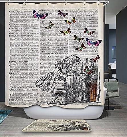 Kisy étanche Mildew-resistant Rideau de douche de bain Vert rétro vintage Newspaper avec papillon Filles Polyester salle de bain Rideau de douche (180cm ×
