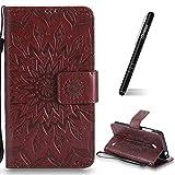 Schutzhülle für Nokia Lumia 630 Braun,Slynmax Mandala Blume Hülle Wallet Case Handyhülle für Nokia Lumia 630/635 Tasche Klapphülle Flip Cover Ledertasche Brieftasche Lederhülle Handytasche,Flower