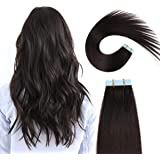 Foreign Holics Tape in Hair Extensions Remy Human Hair 22 Inch Double Sided Skin Weft Real Hair Tape in Extensions Natural Br
