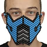 Kandi Gear Blue Sub Zero Kandi Mask Mortal Kombat V1 by, rave mask, halloween mask, beaded mask, bead mask for music fesivals and parties
