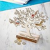Geldbaum aus Holz mit Gravur – Personalisiert mit [NAMEN] – Motiv Herz und Amors Pfeil – Foto-Baum – Geld-Geschenke Verpackung zur Hochzeit – 30 cm hoch – Klein