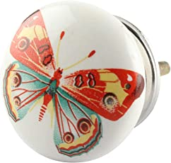 IndianShelf Handmade Multicolor Butterfly Ceramic Flat Drawer Knobs/Pulls-2 Pieces(KID-140)
