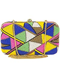 Unibrand - The Indian Handicraft Store Multicolor Abstract Triangle Design With Small Beads Embedded Rectangular...