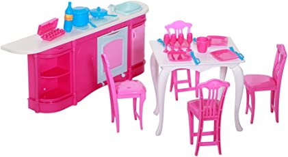 Leoie Dolls Accessories Pretend Play Furniture Set Toys for Barbie Dolls as Xmas Gifts for Kids