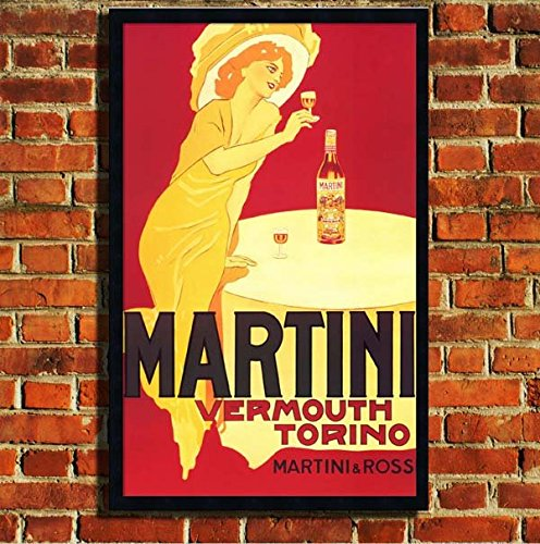 "Martini Advert Vintage Tela con cornice portafoto poster S, M, L, 24""X18"" (60X46CM)"