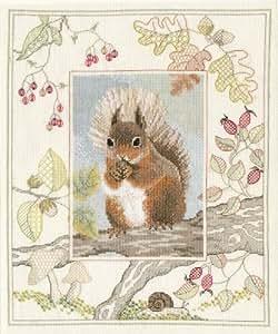 Derwentwater Wildlife Series Red Squirrel Counted Cross Stitch Kit 14 count aida by Derwentwater Designs