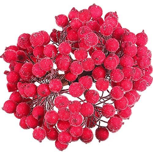 Tatuo Packung von 200 Stück Frosted Fruit Holly Beeren Mini Weihnachten Künstliche Berry Blume für Zuhause, Hochzeit, Party, Geburtstag, DIY Dekoration (Rot) Holly Berry