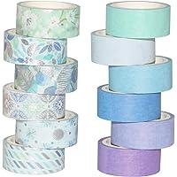 Ruban Adhésif Washi Tape 12 Rouleaux pour Décoration Papier Ruban Bricolage Artisanat (ruban washi Blue Gold) BOMEI PACK