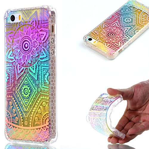 "Preisvergleich Produktbild iPhone 5 Hülle, iPhone 5S Handyhülle,iPhone SE TPU Silikon Backcover Case Handy Schutzhülle ,Cozy Hut iPhone 5 iPhone 5S iPhone SE Premium Transparent Soft TPU Silicone Hülle Bumper IMD Technologie Doppelseitig Plating Farbüberzug Gradient Farbe Design Backcover Hülle Case für iPhone 5/5s/SE 4,0"" Zoll - Datura"