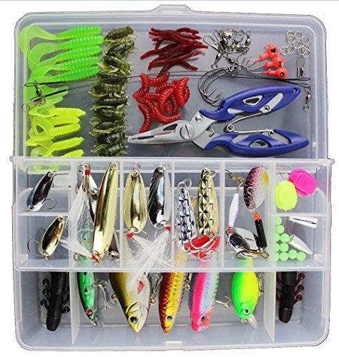 GossipBoy Caja con 101 utensilios de pesca para agua salada, incluye señuelos de varios tipos, alicates y topes