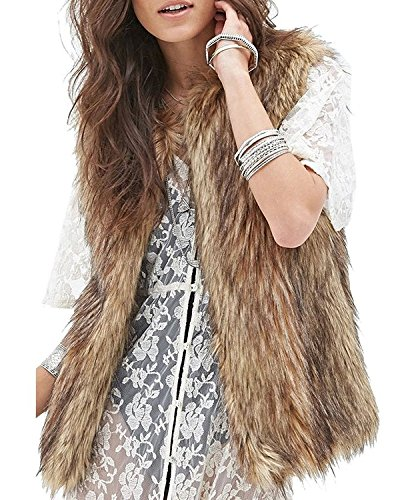 Minetom Mujer Otoño Invierno Moda Gilet Elegante Piel Sintética Chaleco Sin Mangas Vest Chaqueta Marrón ES 34