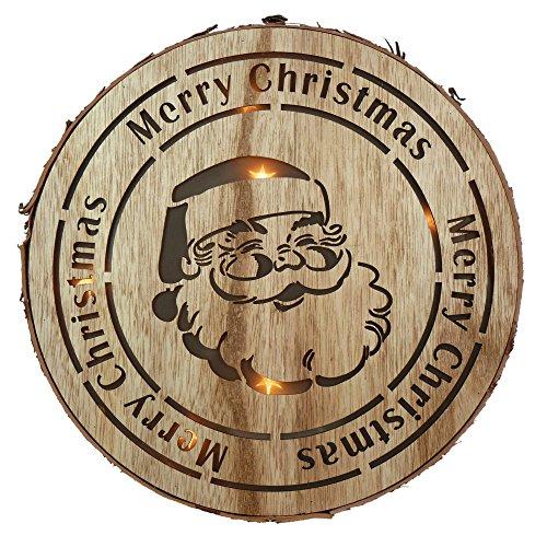Trixes Weihnachtsschmuck mit LEDs Beleuchtete Holzscheibe Baumscheibe und Festlichem Nikolausmotiv -
