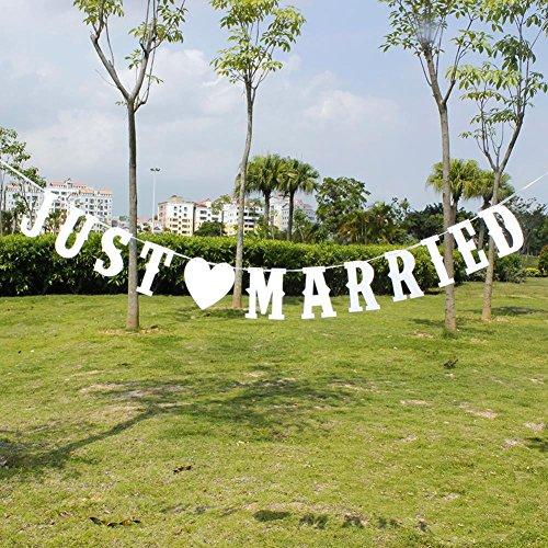 Prom-near Just Married Hochzeits Banner Hochzeitsdeko für Hochzeit Dekoration und Brautdusche Junggesellinnenabschied Wimpeln 13 Stk