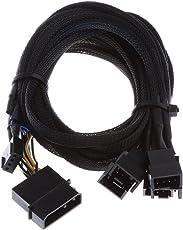 Anbau PWM 3/4 pin PWM Fan to 6 Ways Y Splitter Power Cable PC Fan Extension Lead