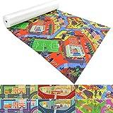 Spielmatte für Kinder mit Straßen und Häuser | schadstofffrei gemäß REACH | abwaschbar | rutschfester Kinderspielteppich | zahlreiche Größen | Campus Grün-Rot | 140x200 cm